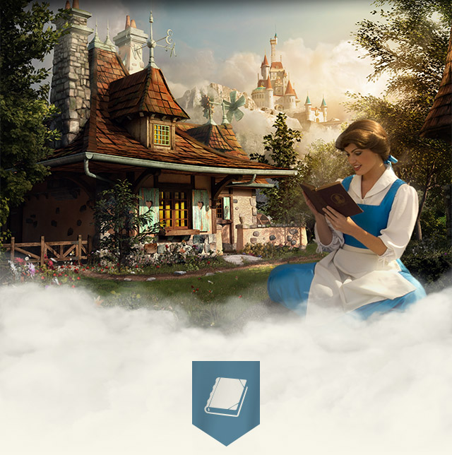 Bella lee historias en New Fantasyland en la atracción 'Enchanted Tales with Belle'.