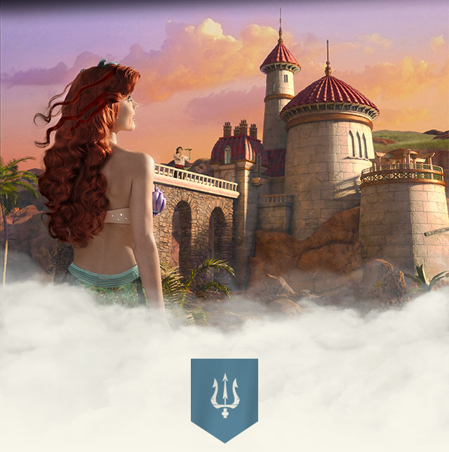 Ariel the Little Mermaid gazing at Prince Eric's castle in New Fantasyland at Walt Disney World Resort.